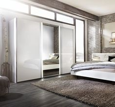 Great Nolte Ipanema Glass and Mirror Sliding Wardrobe with LED Light Band