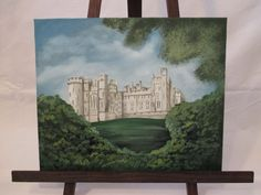 Original gouache and oil painting of Arundel Castle, West Sussex