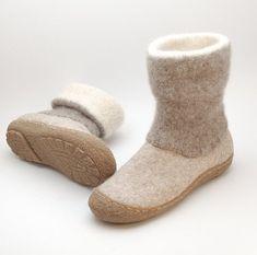 Felt boots natural beige brown - felted wool boot valenki