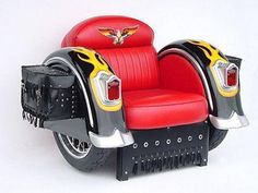 In the game room maybe? Just awesome! Harley chair!?!