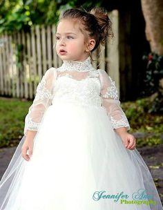 Long Sleeve Ivory flower Girl Dress Christening Dress Baptism dress Communion…