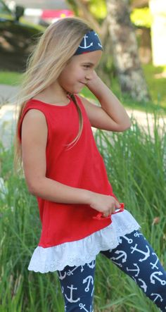 Lace Trim Tunic Top in Red
