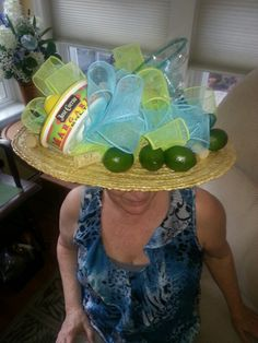 Made this margaritas hat for Mother's Day. Sara Jane loved it! Kentucky Derby Fashion, Kentucky Derby Hats, Crazy Hat Day, Crazy Hats, Easter Camping, Hat Party, Funny Hats, Jimmy Buffett, Costume Hats