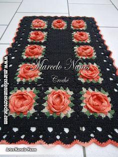 """""""Crochê da Mimi"""": Passo a Passo: Tapete marrom com rosas por Marcelo Nunes"""