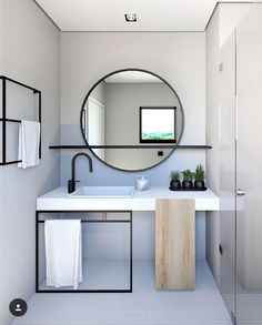 Home Interior Layout Mirror With Shelf Q.Home Interior Layout Mirror With Shelf Q Modern Bathroom Design, Bathroom Interior Design, Minimal Bathroom, Bathroom Designs, Modern Design, Bathroom Mirror Inspiration, Mirror Ideas, Bathroom Ideas, Bathroom Vanities