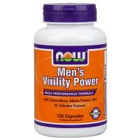Men's Virility Power.  NOW Men's Virility Power is a 100% herbal formula specifically designed to support a man's modern, active lifestyle. This unique formula contains Epimedium, also known as horny goat weed, plus recommended levels of other popular herbal ingredients like Muira Puama, Maca and Tribulus. This synergistic blend supports healthy male hormonal levels and may enhance sexual performance.
