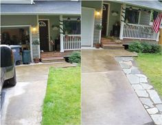 Boost curb appeal without breaking the bank. Check out 9 low budget driveway and pathway projects >> http://blog.diynetwork.com/maderemade/2015/08/21/before-and-afters-9-creative-driveway-and-pathway-updates-on-a-budget/?soc=pinterest