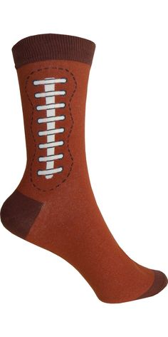 Football Crew Socks in Brown - Poppysocks.com