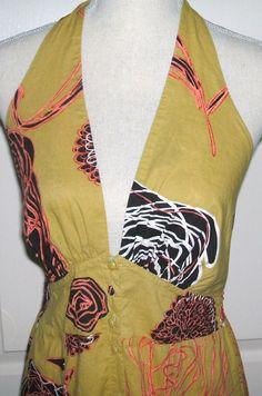 Dress, Vintage, Vacation Dress, Printed Dress, Halter Top Dress, Halter Top, Sundress, Midi Dress - pinned by pin4etsy.com