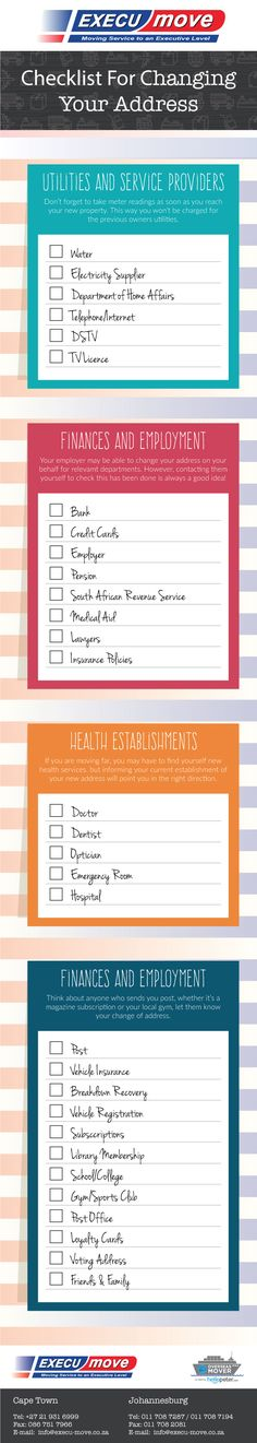 Infographic: Checklist For Changing Your Address - Execu-Move Change Your Address, Furniture Removal, Things To Know, You Changed, Infographic, Finance, How To Remove, Learning, Life