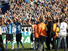 A saudação de jogadores e torcida - Grêmio 3 x 0 Botafogo - Brasileiro 2010