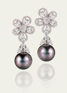 Earrings @ Tamsen Z Tahitian Pearl & Diamond Earrings