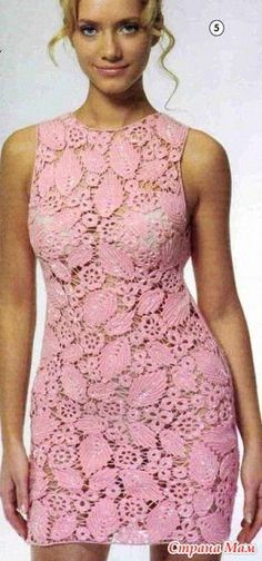 Pink Irish Crochet Lace dress