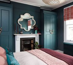 Farrow & Ball Inchyra Blue, voted Colour Of The Year by Homes & Gardens Magazine. Farrow & Ball In Gold Bedroom, Bedroom Green, Home Decor Bedroom, Bedroom Ideas, Bedroom Color Schemes, Bedroom Colors, Farrow And Ball Bedroom, Scandinavian Interior Design, Contemporary Bedroom