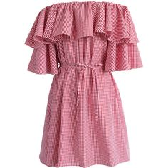 Chicwish Wavy Gingham Off-shoulder Dress in Red ($53) ❤ liked on Polyvore featuring dresses, red, off-the-shoulder ruffle dresses, tiered ruffle dress, off the shoulder cocktail dress, red ruffle dress and red cocktail dress