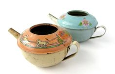 Antique Toys - Vintage teapots from a tea set - very cute.