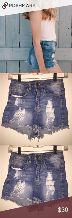 High Waisted Distressed Denim Shorts These distressed shorts are perfect to make a look more casual, but still fun! They also look cute paired with a sweater, tights and booties! Shorts Jean Shorts
