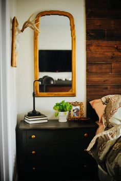 Rustic Master Bedroom - Hang a mirror over the night stand! Why havent I thought of that?!