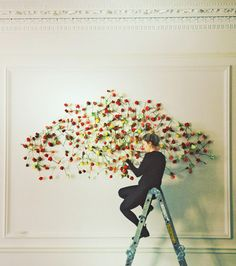 ~~ For restaurant Ognisko of Exhibition Road London. Three art works that adorn opposing walls. Each piece is made up of multi-colored roses & copper wire.