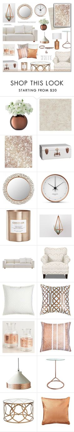 """Copper & White"" by anyasdesigns ❤ liked on Polyvore featuring interior, interiors, interior design, home, home decor, interior decorating, Designers Guild, Tempaper, CB2 and Safavieh"