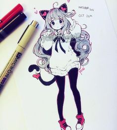 Hihi, I hope you're all doing well. Midterms are over, thank you all for being patient with me during my absence. I should be more active now~ I found half a sheet of printer paper on a desk.it is mine now and I used for this inktober (which btw I am ve Anime Girl Drawings, Kawaii Drawings, Manga Drawing, Manga Art, Cute Drawings, Art Anime, Anime Art Girl, Kawaii Art, Kawaii Anime