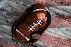 Newborn Football Crochet Hat And Cocoon