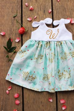 Unicorn dress, baby girls dress, birthday dress, blush gold mint, Michael miller unicorn dress, boho personalized coming home outfit
