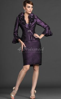Satin Short/Mini Strapless Sheath/Column Mother Of The Bridesmaid Dresses With Wrap(MBD082)