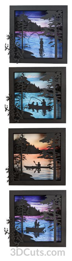 20 Shadow Box Ideas, Cute and Creative Displaying meaningful memories Shadow Box Kunst, 3d Cuts, Origami, Inspiration Artistique, Licht Box, Paper Art, Paper Crafts, Diy Shadow Box, Summer Scenes