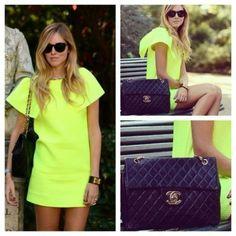 Neon dress & Chanel bag