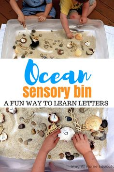 Use an ocean sensory bin as a name recognition activity this summer - This is a fun sensory activity that also teaches letters and name recognition. All you need are seashells and sand in your sensory table! Add this to your ocean preschool theme. Sensory Activities For Preschoolers, Sea Activities, Summer Activities For Kids, Preschool Crafts, Toddler Activities, Beach Theme Preschool, Summer Preschool Themes, Childcare Activities, Preschool Printables