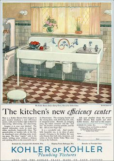 1928 Kohler Kitchen    Deluxe kitchen sink with every possible convenience.    Source: Ladies Home Journal