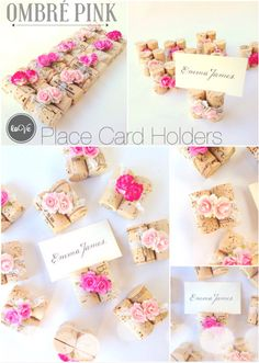 Ombre Pink Place Card Holders, such a pretty compliment to your rustic wedding seating chart! Display place cards or even photos. http://www.karasvineyardweddingshop.com/collections/classic-place-card-holders/products/ombre-pink-place-card-holder-with-vintage-style-lace