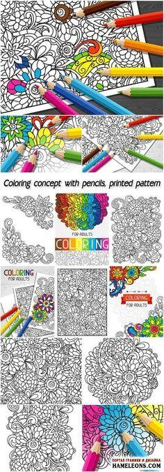 Раскраска  Цветочные узоры и цветные карандаши - векторный клипарт   Coloring pencil