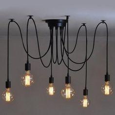 Perfectshow Vintage Edison Multiple Ajustable DIY Pendant Spider Lights Home Ceiling Light Fixtures Metal Chandeliers Lighting (Black 6-light)