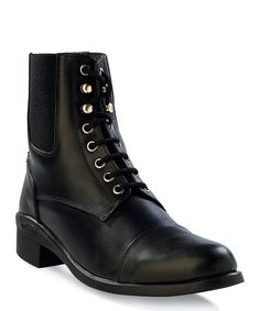 Another great find on #zulily! Black Lace-Up Leather Riding Boot - Women by Old West #zulilyfinds