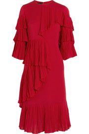 d6a65423954 Gucci Ruffled silk-georgette dress Red Ruffle Dress