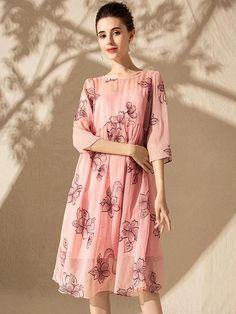 Fashion Print Cotton 3/4 Sleeve O-Neck Two Piece Shift Dress