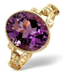 A superb Amethyst 4.15ct ring in 9K yellow Gold. Rub over setting. Item Ref:A3497  •$305,00