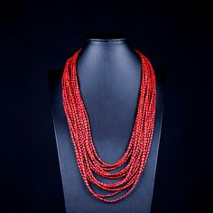 Necklace with 11 strands of red coral. Silver clasp. Handmade, statement, gemstone, bohemian, multistrand, christmas gift by Menir on Etsy
