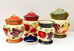 Tuscany Garden Colorful Hand Painted Mixed Fruit Canisters, Set of 4, 89201 by ACK ACK http://www.amazon.com/dp/B00FL4QIV0/ref=cm_sw_r_pi_dp_5I4uvb1R2KN1V