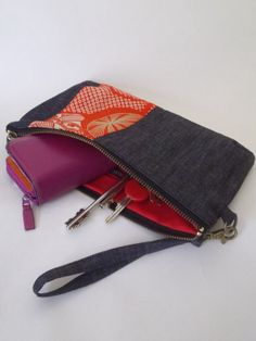 Denim / Red / Kimono fabric / Clutch bag Silk/ by UMEHARAKABAN, $30.00