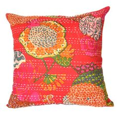 Bring a touch of exotic style to your sofa or settee with this bold cotton pillow sham, showcasing a kantha cloth-inspired floral motif. Product: Pillow shamConstruction Material: CottonColor: RedFeatures: Envelope closureDimensions: x Insert not included