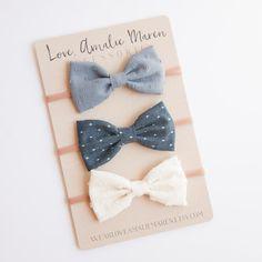 Tuxedo Bow Baby Headband Set of Three by WearLoveAmalieMaren