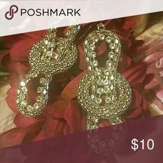 Crystal Mesh Looped Earrings Dress it up with these beauties! Clear crystals & MESH chain  accent these beautiful earrings. Item#E230 Jewelry Earrings