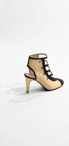 Sandals, satin-beige & black - CHANEL