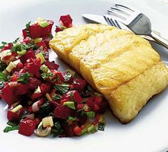 Panfried fish with fresh beetroot salsa