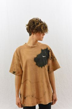 Vintage Upcycled Nike T Shirt, Size Large, Bleach Destroyed, OOAK, Tumblr Clothing, Grunge, Sporty Spice, 90's Clothing, Health Goth by littleraisinvintage on Etsy
