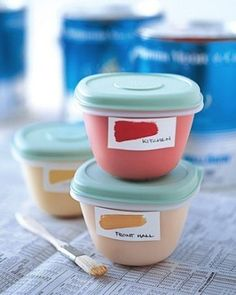 Pour leftover paint out of the huge can and into smaller resealable containers.