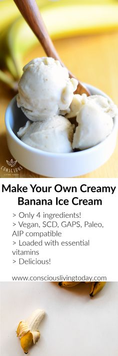 "This dairy-free ""ice-cream"" is full of nutrients and high on taste. Only 4 ingredients and is compatible with many diets: Vegan, GAPS, Paleo, AIP, SCD. Real Food Recipes, Vegetarian Recipes, Yummy Food, Healthy Recipes, Raw Cacao Nibs, Vitamins For Energy, Eating Bananas, Banana Ice Cream, Dairy Free Options"